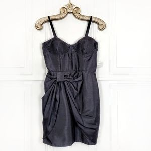 Bustier Corset Wrap Bow Front Mini Dress Small
